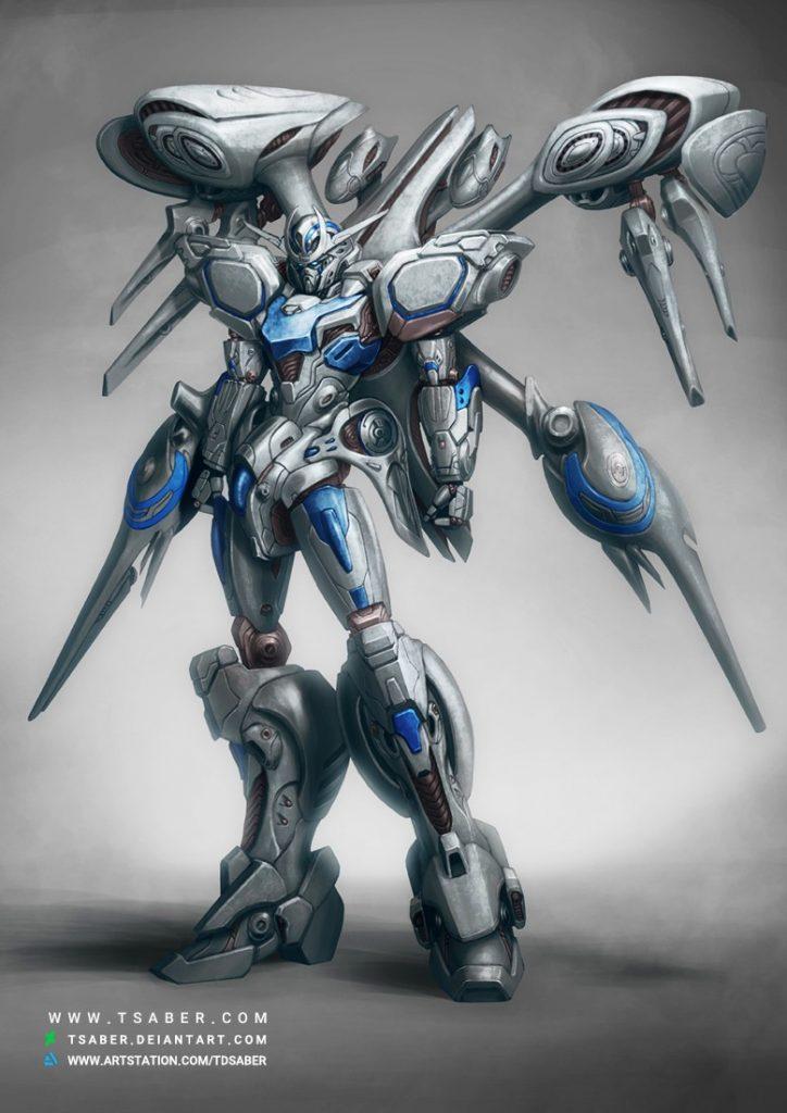 Gundam Aura Concept Art - Robot Mech Design - Tsaber