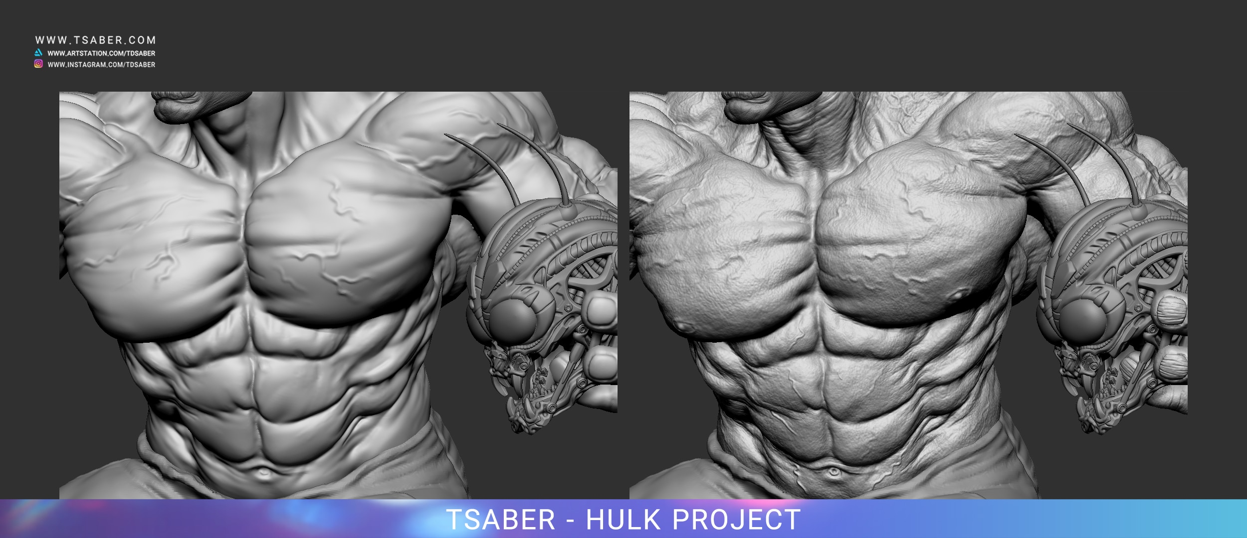 Making of 80's Incredible Hulk Statue - Zbrush 3D Modelling - Tsaber