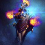 sci-fi pyromancer - Female character Illustration design - Tsaber