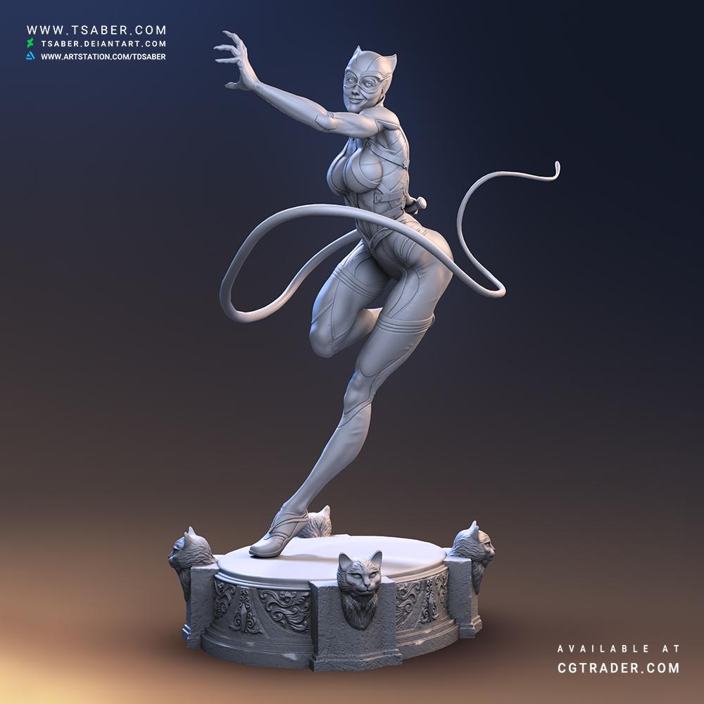 Catwoman 3D Zbrush Statue- DC Fan Art - Tsaber