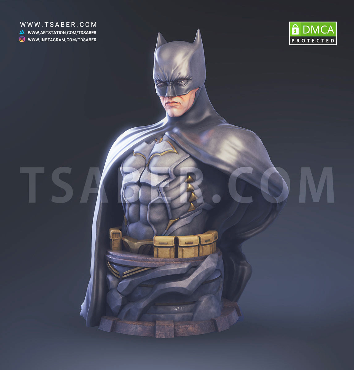Batman Bust 3dprint - DC Comics Collectibles - Tsaber