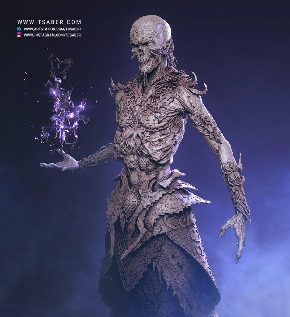 Undead Mage- Zbrush Undead character Sculpture - Tsaber