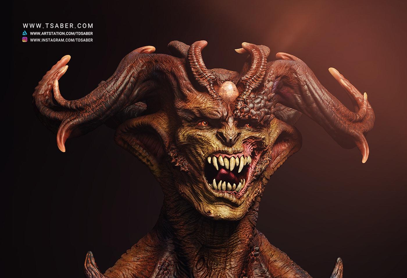 Demon Portrait Zbrush - Tsaber