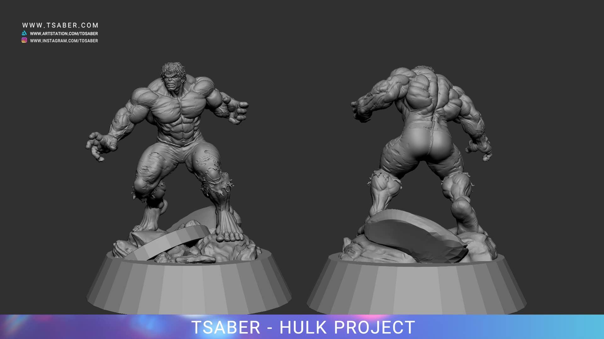 Making of 80's Incredible Hulk Statue - Zbrush 3D Modelling - Tsaber