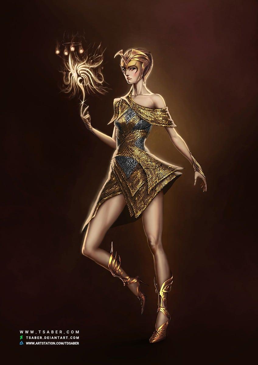 Dawn Elf Novice Mage - Fantasy Character Artwork - Tsaber