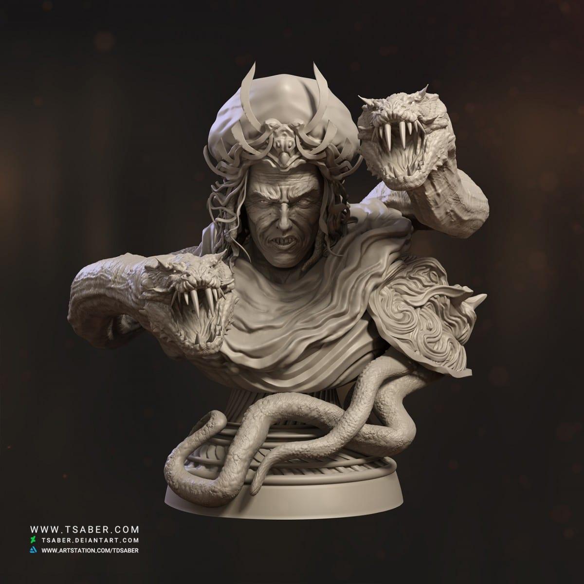 Zahhak Bust - Zbrush sculpting - Tsaber