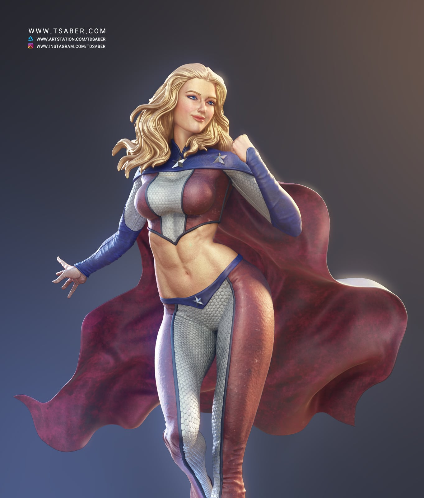 American Star Zbrush Statue - Superhero character- Tsaber