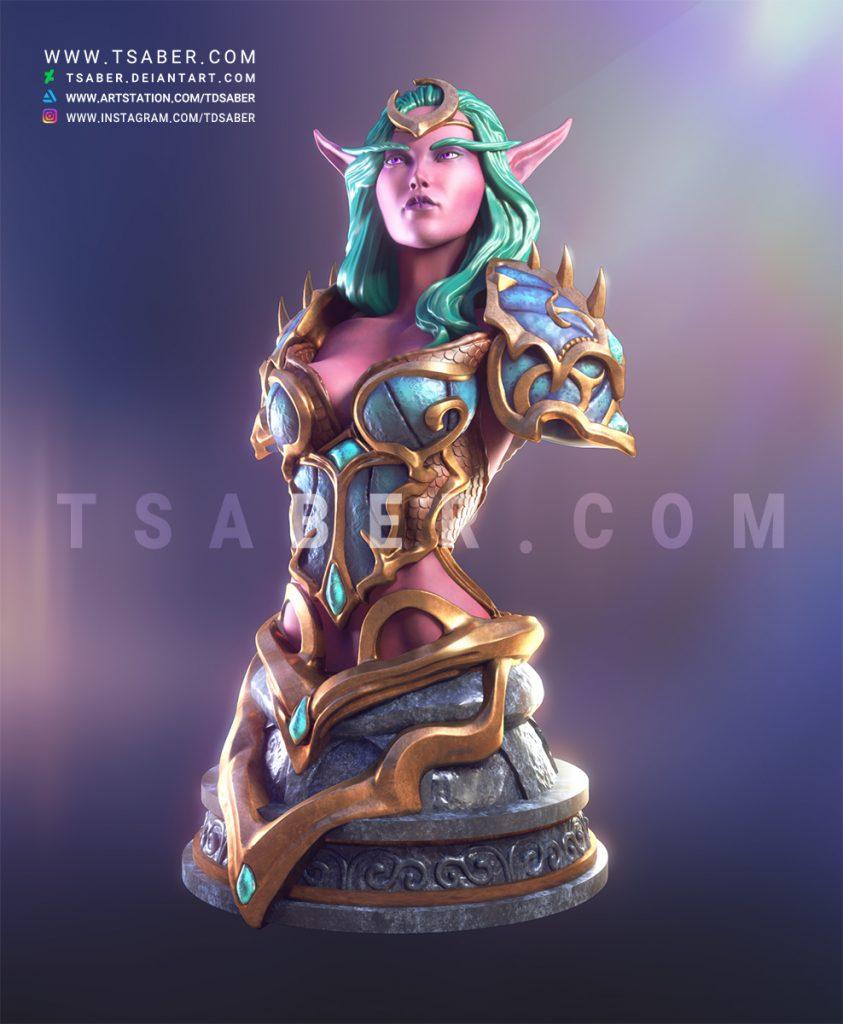 Night Elf Hunter Bust - Warcraft Collectibles 3D print Zbrush Bust - Tsaber
