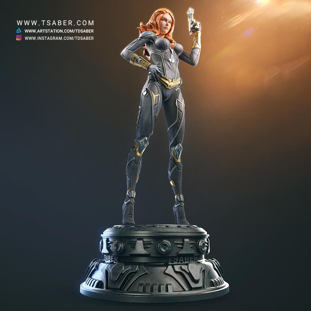 Black WidowMaker - Zbrush Character Statue Sculpture - Tsaber