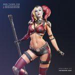 Harley Quinn Zbrush 3D statue- DC Comics Fan Art - Tsaber