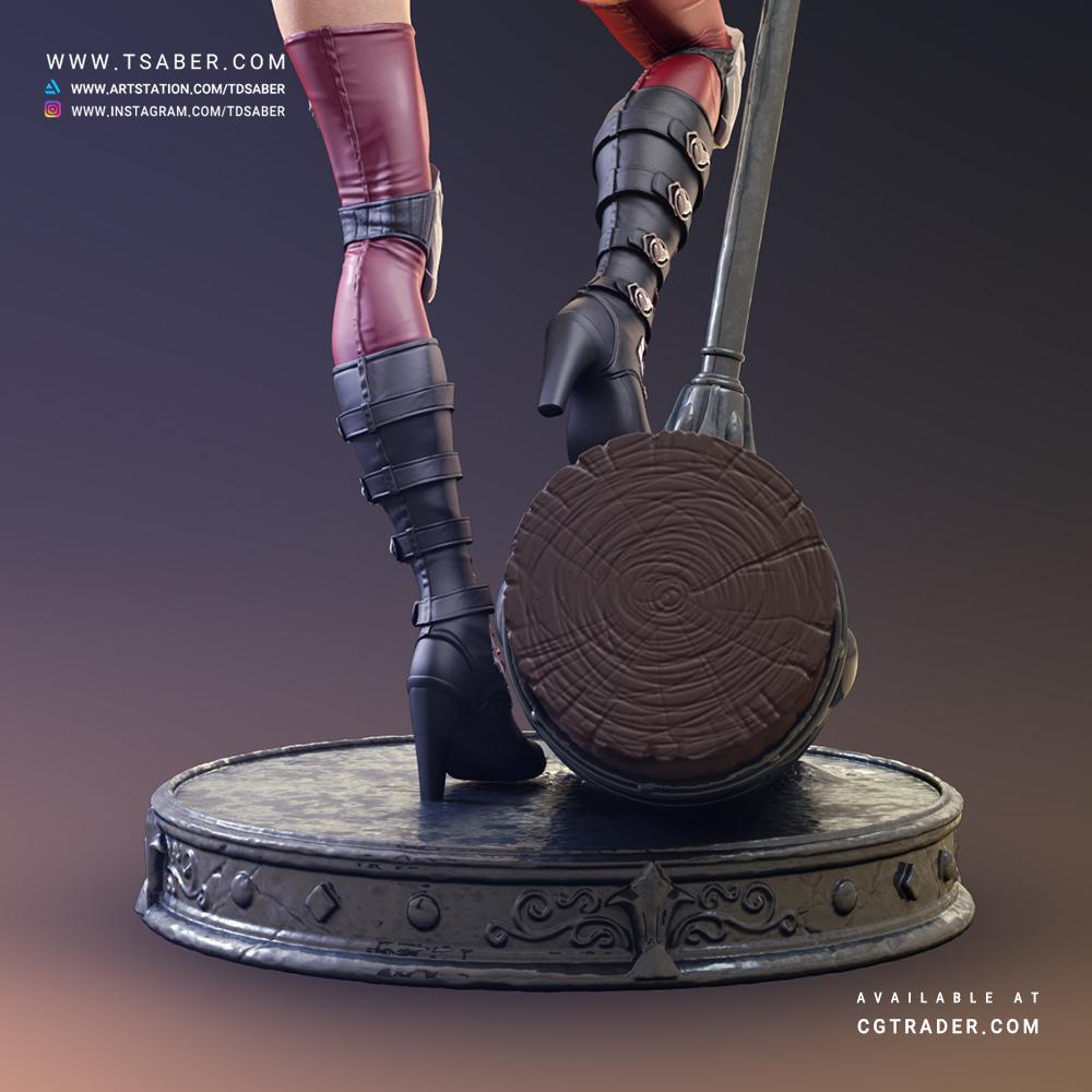 Harley Quinn Zbrush 3D statue- DC Comics collectibles - Tsaber