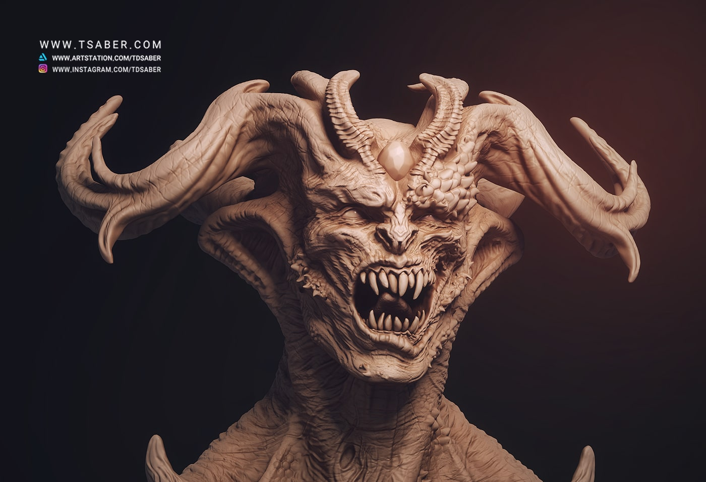 Demon Portrait Zbrush - Tsaber