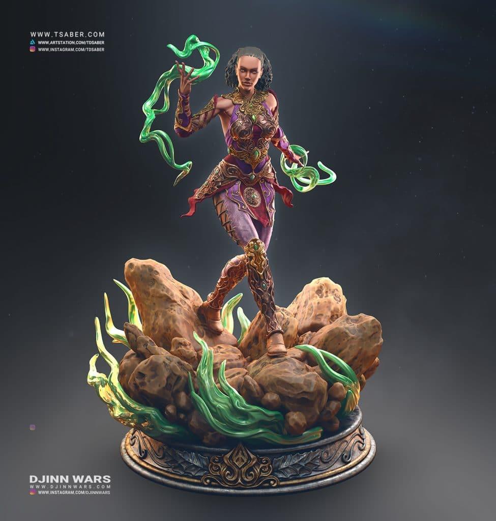 Ciri Statue Zbrush - Djinn Wars Collectibles - Tsaber